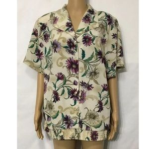 Alfred dunner Blouse Short Sleeve Button Up Sz 20W